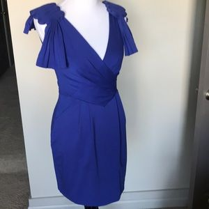Royal Blue Jersey Dress with detailed shoulder
